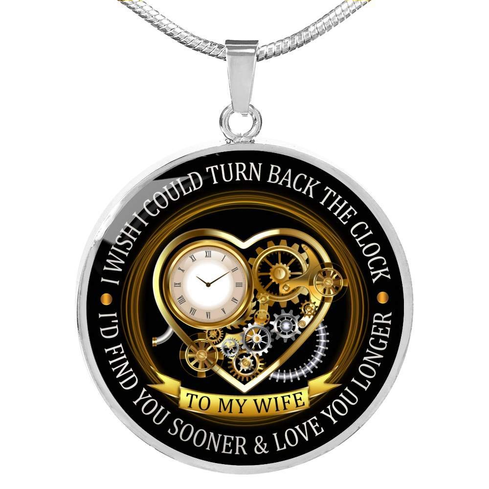 Is Hot to My Wife Necklace Valentine Gift for Wife from Husband Heart Clock Gold Silver Pendant