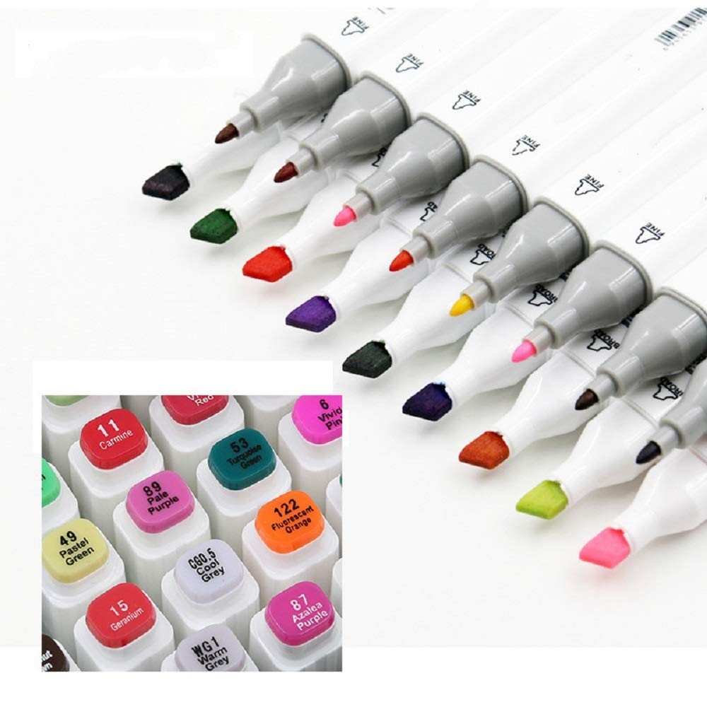 80 Colors Dual Tips Permanent Marker Pens Art Markers for Kids,Alcohol Based Markers Colored Artist Drawing Marker Set with Carrying Case for Adults Coloring Drawing Sketching Illustration Underlining by FAN DI (Image #4)