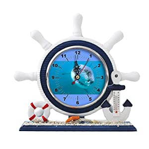 GIRLSIGHT1 Desk/Table Decor Mediterranean Nautical Ship Clocks Living Room Clocks Decoration Blue Sailboat Ornaments-183.Great White Shark lair Found in Pacific Ocean