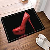 HiSoho Creative Sex Woman Decor Red High Heels in Black Bath Rugs Non-Slip Doormat Floor Entryways Outdoor Indoor Front Door Mat Kids Bath Mat 15.7x23.6in Bathroom Accessories