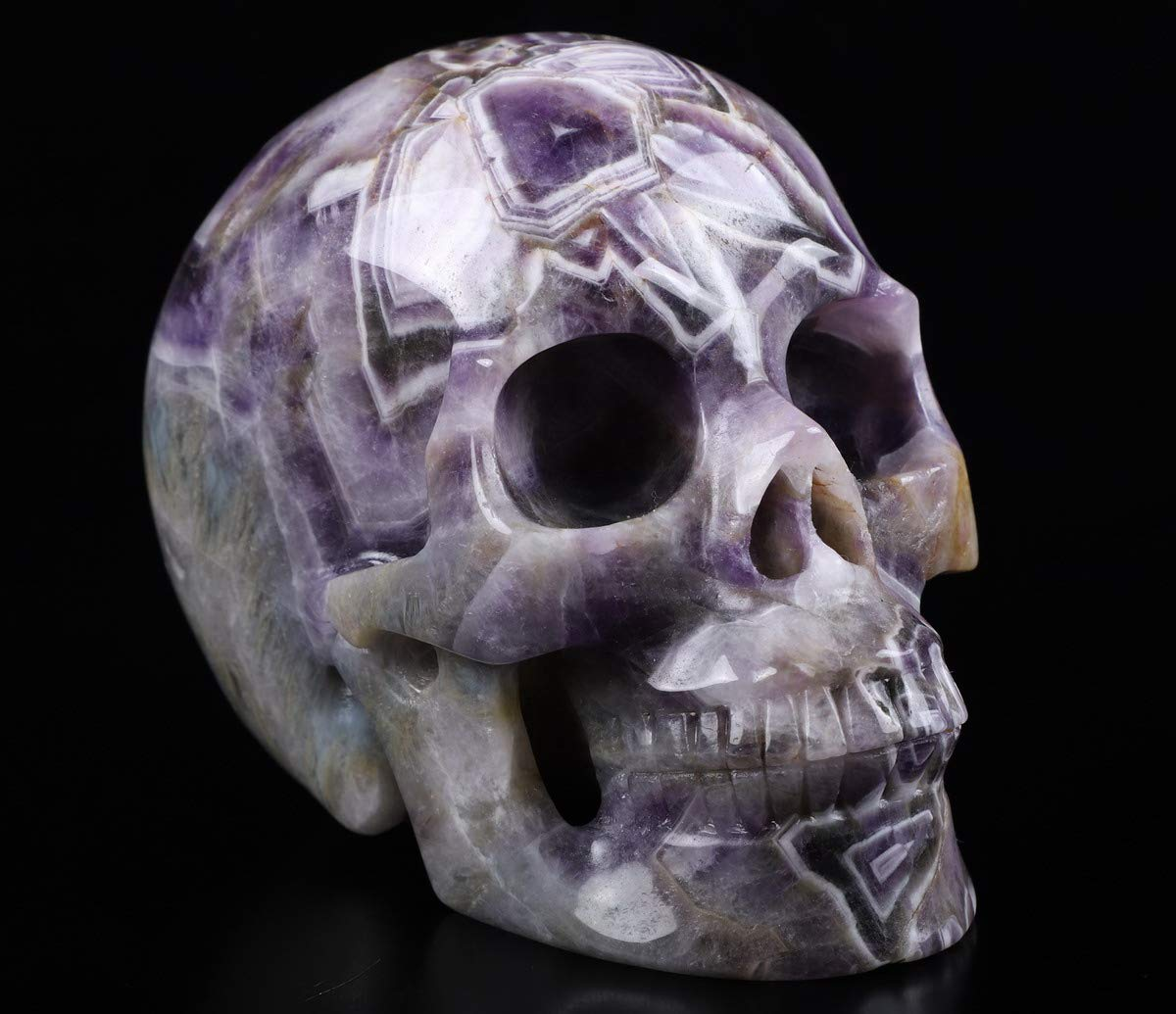 Skullis 5.0 Dream Chevron Amethyst Crystal Skull, Hand Carved Gemstone Fine Art Sculpture, Reiki Healing Stone Statue.