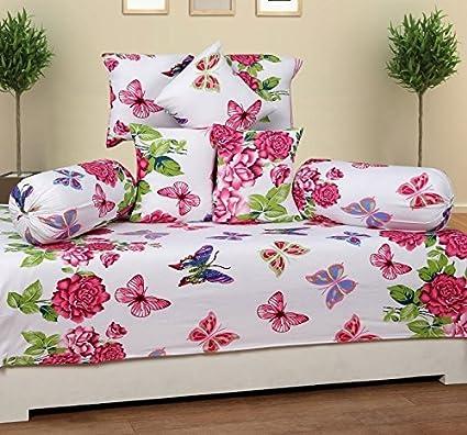 ZAINHOME Cotton Diwan (Pink Butterfly) - Set of 8 Pieces