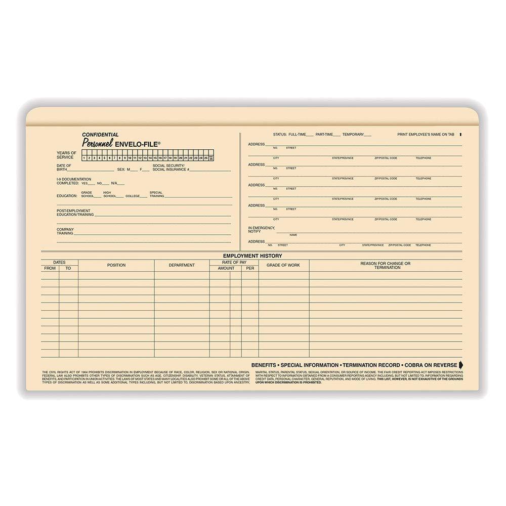 ComplyRight Personnel Envelo File Legal 25PK