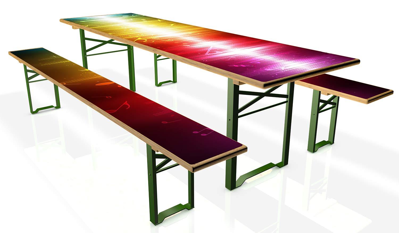Wallario Tischdecke für Bierzeltgarnituren, selbstklebend, Folie für 1 Tisch und 2 Bänke - Motiv: Blau-gelbe Noten der Musik