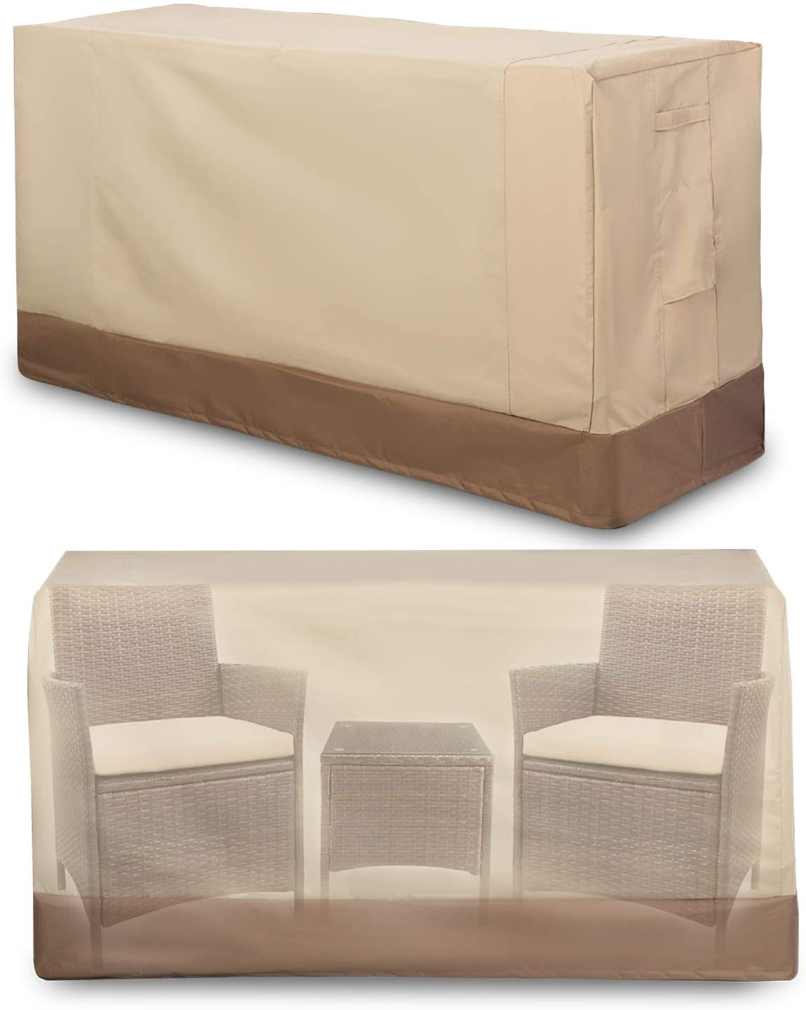 "Patio Furniture Set Covers Outdoor 100% Waterproof 600D Oxford Polyester Durable Heavy Covers Suitable for 3 Pieces Conversation Sets Size 64"" x 24"" x 34"" , Beige & Brown"