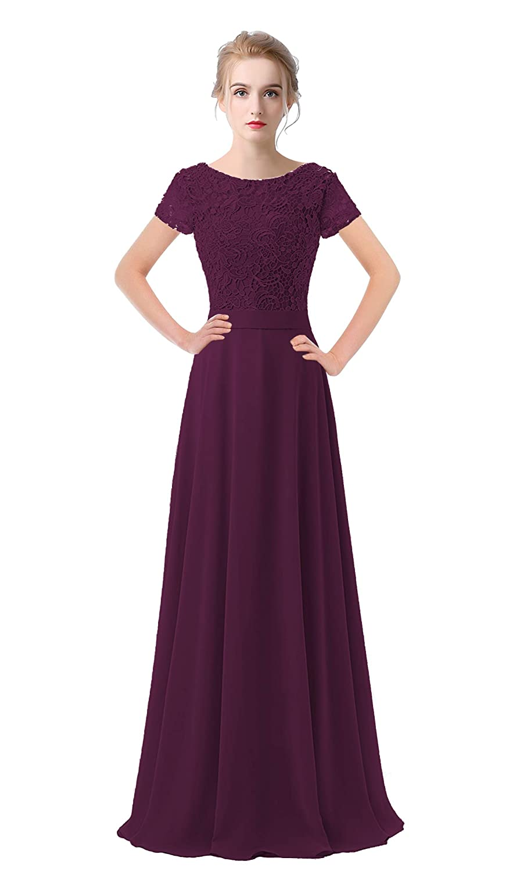 Grape Purple VaniaDress Women Lace Short Sleeves Long Evening Dress Prom Gown V061LF