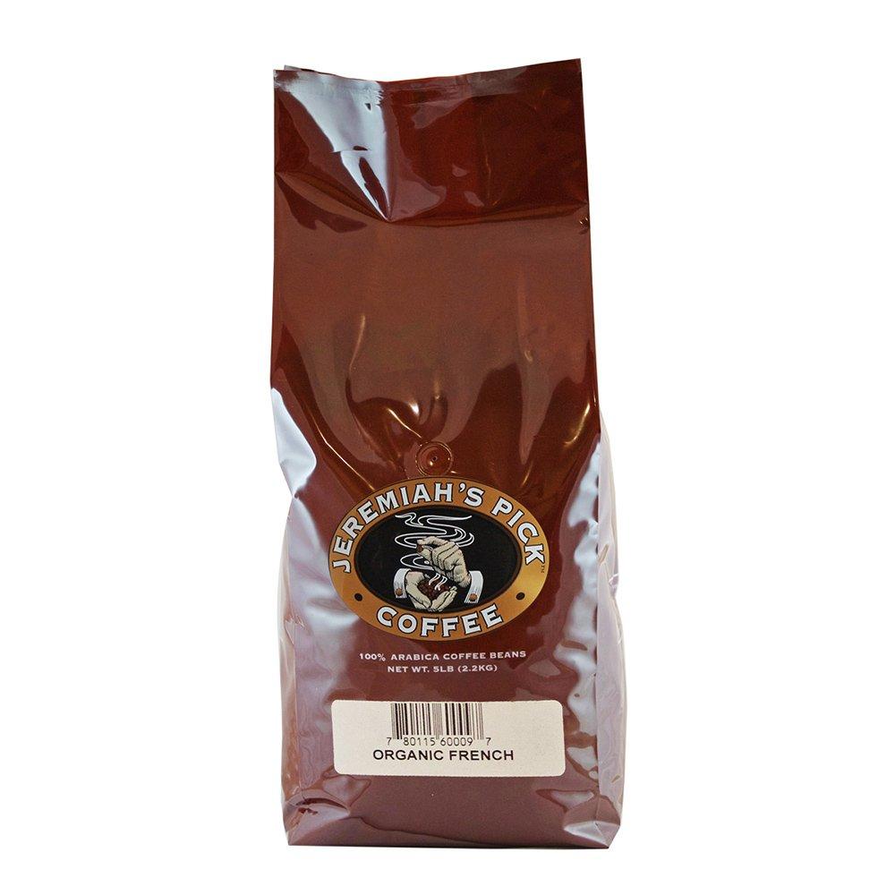 Jeremiah's Pick Coffee Organic French Roast Whole Bean Coffee, 5-Pound Bag