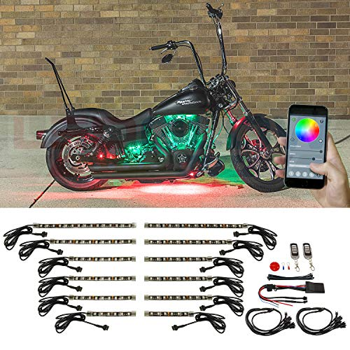 LEDGlow 12pc Advanced Million Color SMD LED Motorcycle Accent Underglow Light Kit - Smartphone App - Bluetooth & Waterproof Control Box - Flexible Light Strips - Dual Zone & Brake Lights Feature