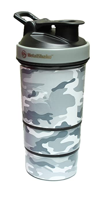 CAMO Leak Proof Metal Shake LIFETIME Stainless Steel Protein Shaker Cup Set  Blender Mixer Bottle 19oz