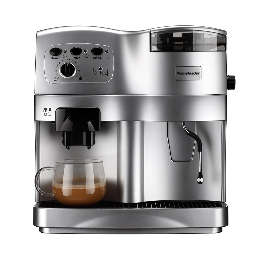 Homeleader Automatic Coffee Machine, 12-Cup Programmable Coffeemaker, Silver