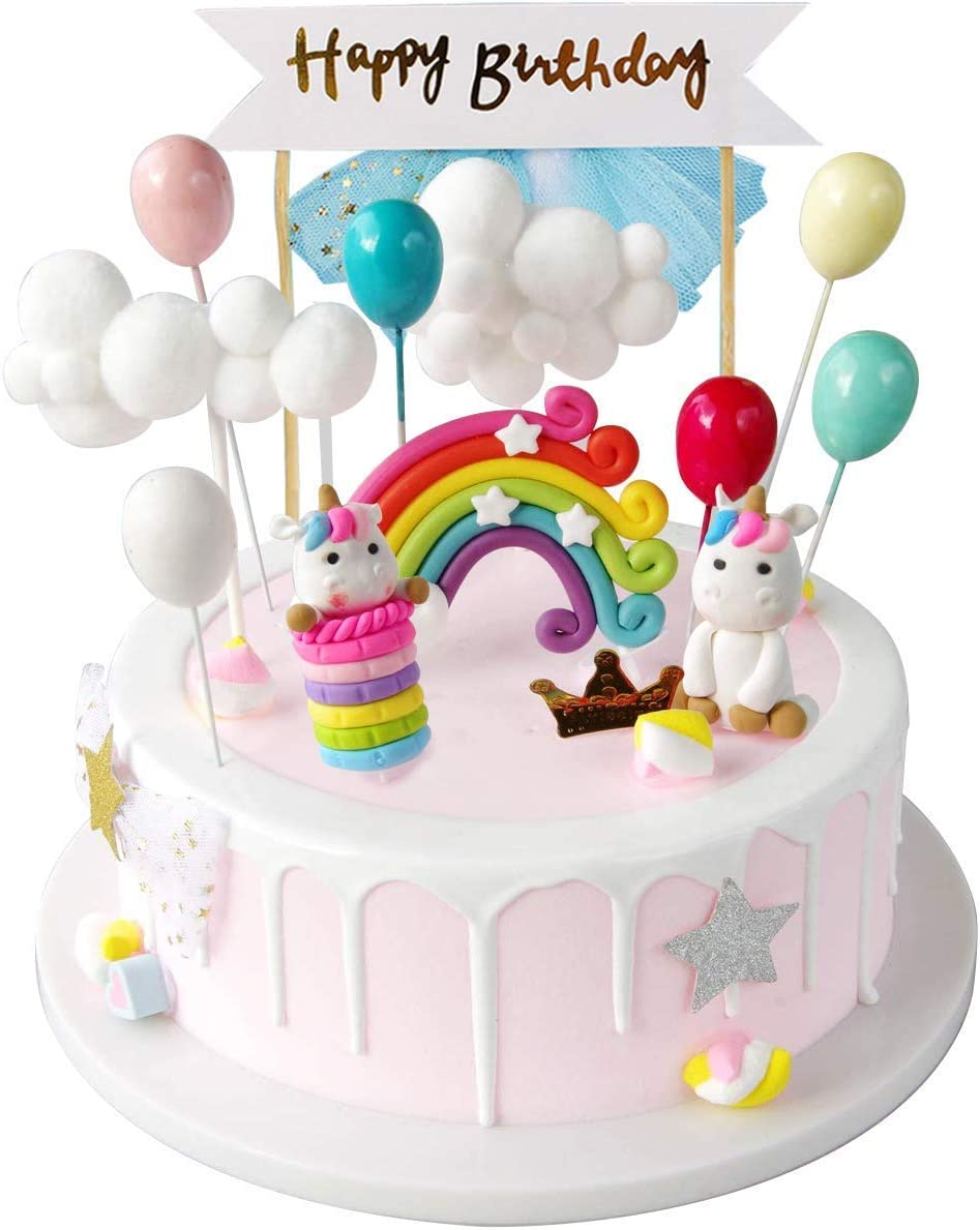 Astonishing Izoel Unicorn Cake Topper Kit Cloud Rainbow Balloon Happy Birthday Personalised Birthday Cards Veneteletsinfo