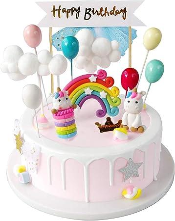 Izoel Unicorno Decorazione Torta Kit Compleanno Cake Topper Nuvola Arcobaleno Palloncino Happy Birthday Banner Ragazze Bambina Amazon It Casa E Cucina