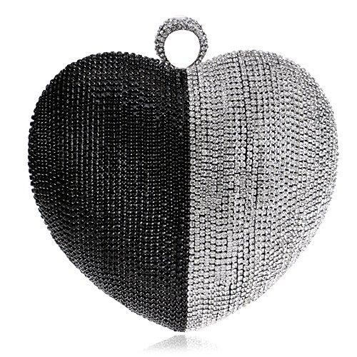 Symbolove Womens Fashion Heart-Shaped Evening-handbags Exquisite Evening Party Wedding Clutch Bag For Womens-C1