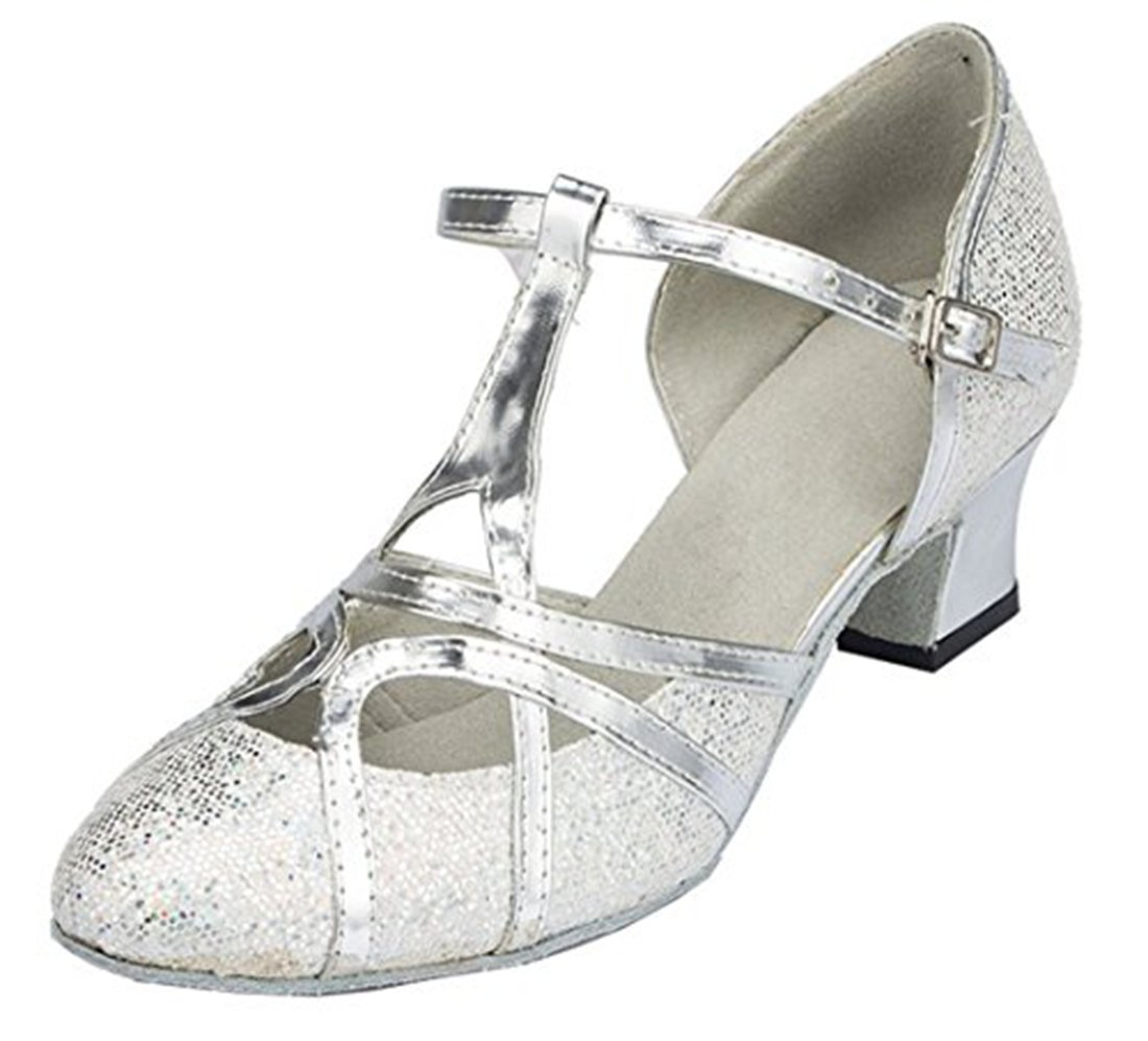 TDA Womens Mid Heel 5cm Glitter Silver PU Leather Salsa Tango Ballroom Latin Party Dance Shoes CM101 5.5 M US by TDA