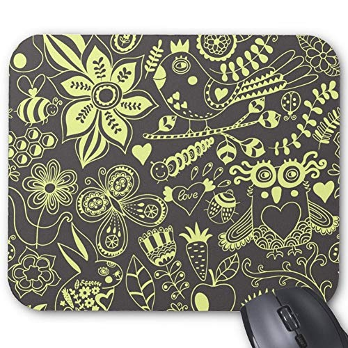 Charcoal Gray and Light Yellow Flower Birds Butterfly Rabbit Heart Owl Leaf Mousepad Gaming Mouse Pad Laptop Mousepads