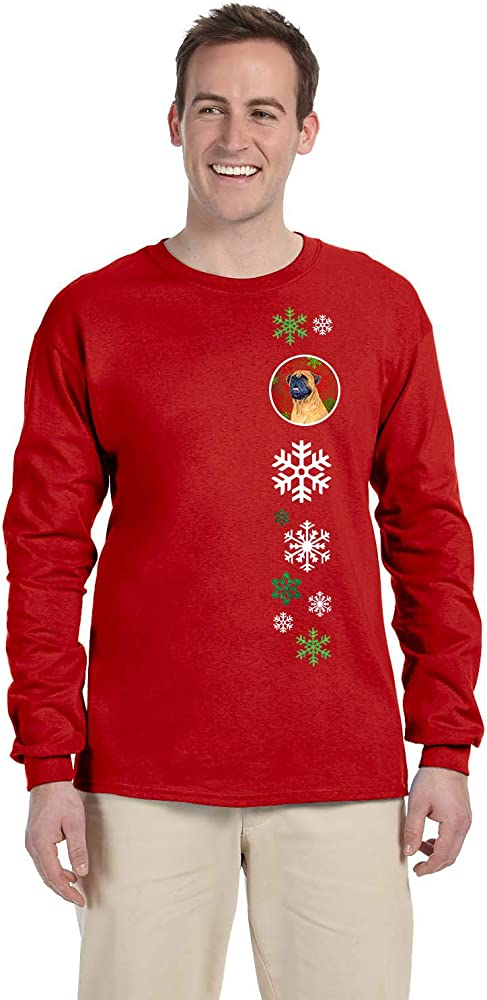 Carolines Treasures SS4727-LS-RED-L Mastiff Red Snowflakes Long Sleeve Red Unisex Tshirt Adult Large L Multicolor