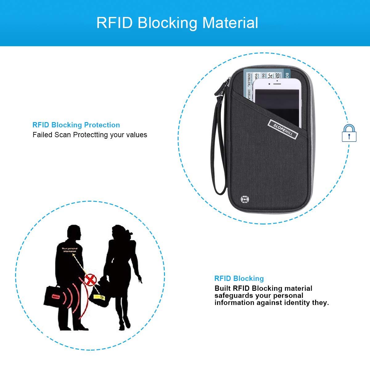 slopehill Organiseur de Voyage Blocage RFID avec Dragonne pour Cartes de Cr/édit Passeport Pi/èces de Monnaie Billets Portefeuille de Voyage