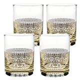 Culver Gold 22k 14-Ounce Double Old Fashioned Glass Set of 4 (Orthodox)