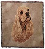 Pure Country 1124-LS Cocker Spaniel Pet Blanket, Canine on Beige Background, 54 by 54-Inch