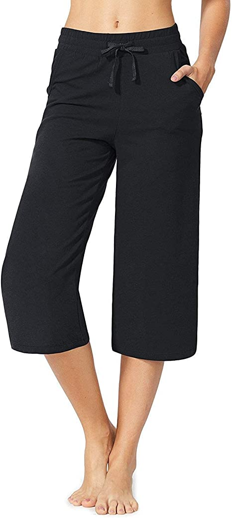 Amazon.com: CUALITA Active Lounge Yoga Capri Pantalones con ...