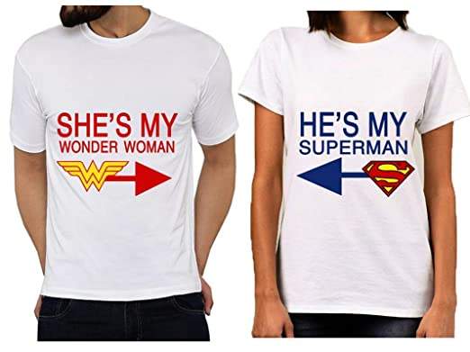 cfa8e2260e PRINTYUVA Couple Printed T-shirt (Superman And Wonderwoman, XL and Large)