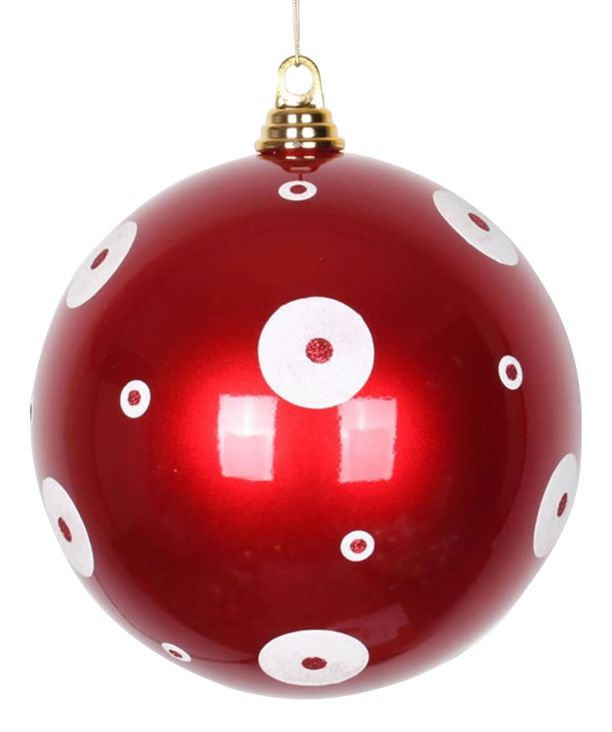Vickerman Candy Apple Red with White Glitter Polka Dots Christmas Ball Ornaments 8'' (200mm)