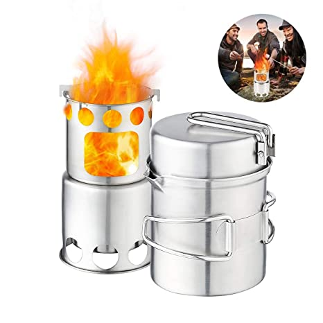 Jinxuny 304 Juego de utensilios de cocina para acampar de ...