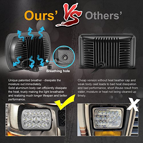 2Pcs Partsam 45w Rectangle 7x6 Led Headlights Pair 6054 Led Headlight 5x7 Led Headlights 7x6 HiLow Led Sealed Beam Chevy S10 H4 Plug H6054 Headlights H5054 6052 For Jeep Wrangler YJ Xj Cherokee Truck