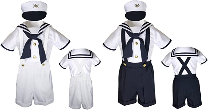 Navy New Baby Girl Toddler Formal Sailor Party Dress Outfits S,M,L,XL,2T,3T