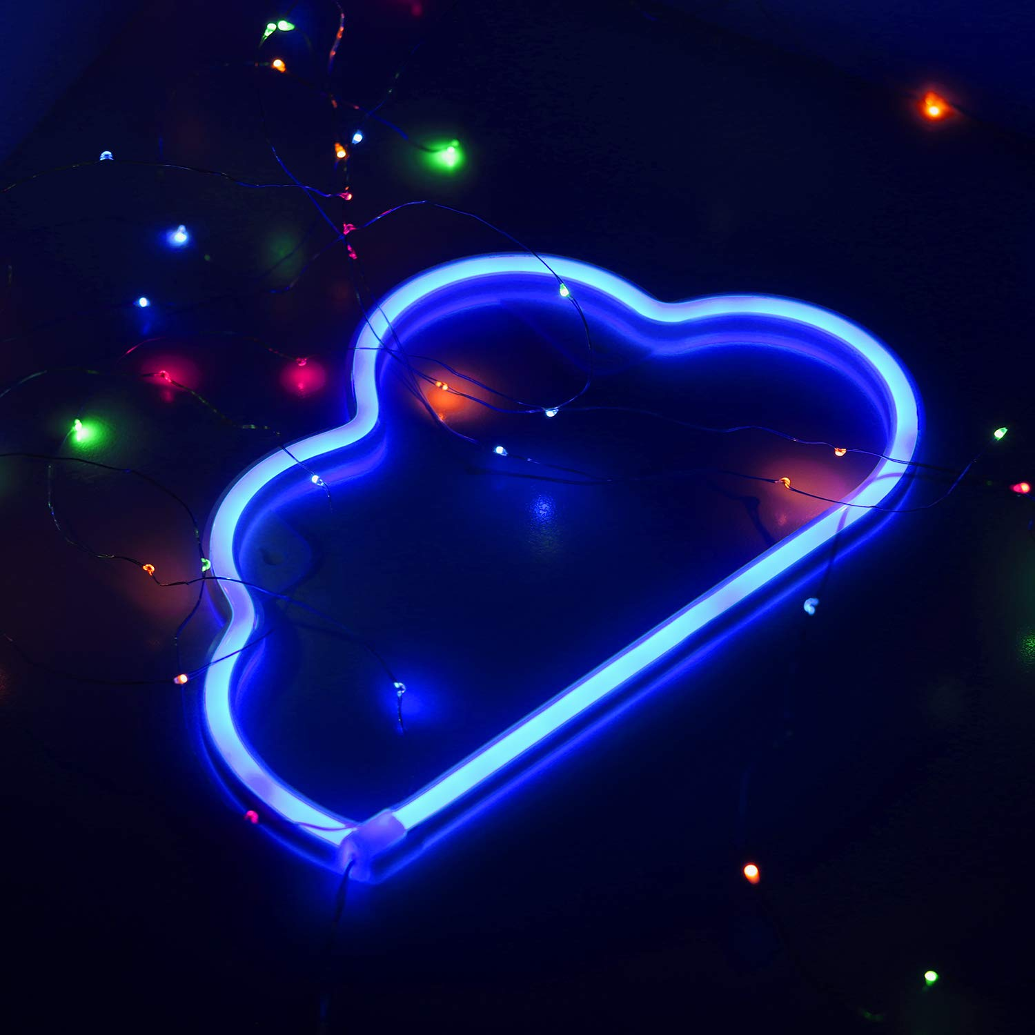Neon Night Light Blue Lightning Bolt Battery and USB Powered Wall Art LED Decorative Lights for Living Room Man Cave Games Room Party Decoration NELNBB