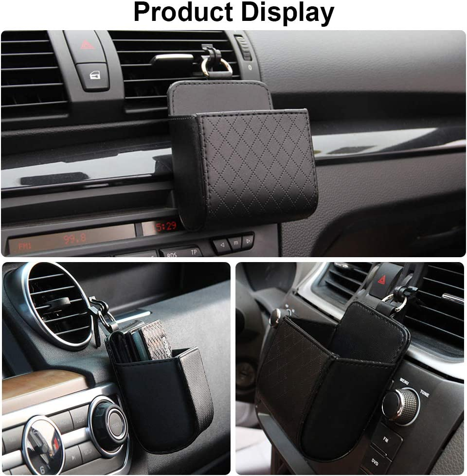 Glasses Keenso Auto Seat Back Interior Case with Hook Mount Outlet Storage Box Hanging Leather Container Case Bag Pouch Holder for Smart Phone Universal Car Air Vent Organizer Black Coins Pen