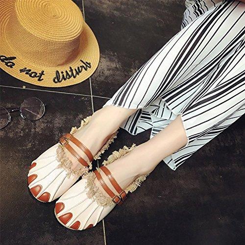 de creadora Rice verano Han ventilador de de exótico Zapatillas white zapatos la Sandalias nuevo estilo personalidad mujer zapatos de 8aPfwx6n