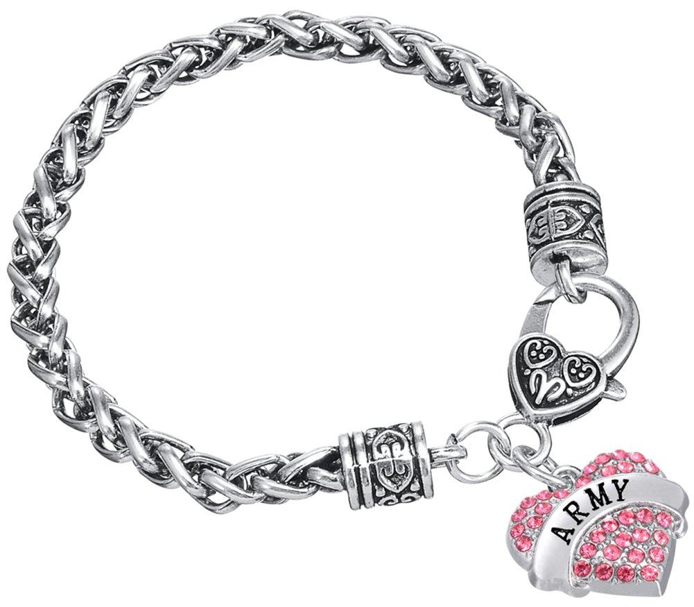 Argento antico a forma di cuore esercito ciondolo catena di grano bracciale per donne ragazze regalo gioielli Lega colore: Red BiChuang
