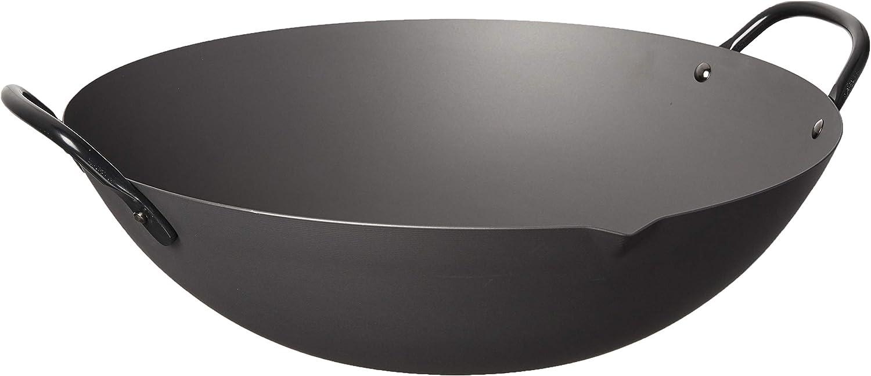 Amazon Com Yoshikawa Black Steel Canton Wok 14 Kitchen Dining