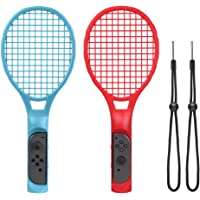 CHOETECH Tennis Racket for Nintendo Switch Joy-Con, Tennis Racket with Hand Straps for Mario Tennis Aces Game, Controllers Accessories Grips for Switch Joy-con(Blue and Red)