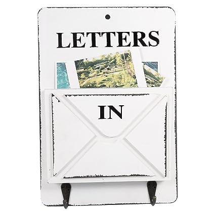 Caja de Correos y Colgador de Llaves Buzón de Correos Soporte de Pared con Bandeja para