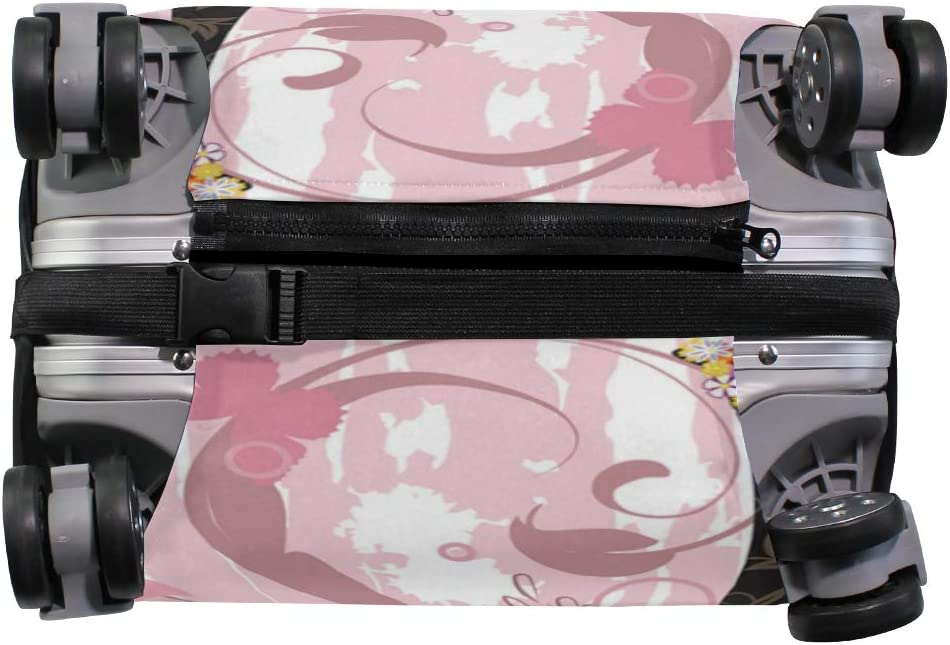 FOLPPLY Pink Fairy Butterfly Girl Floral Luggage Cover Baggage Suitcase Travel Protector Fit for 18-32 Inch