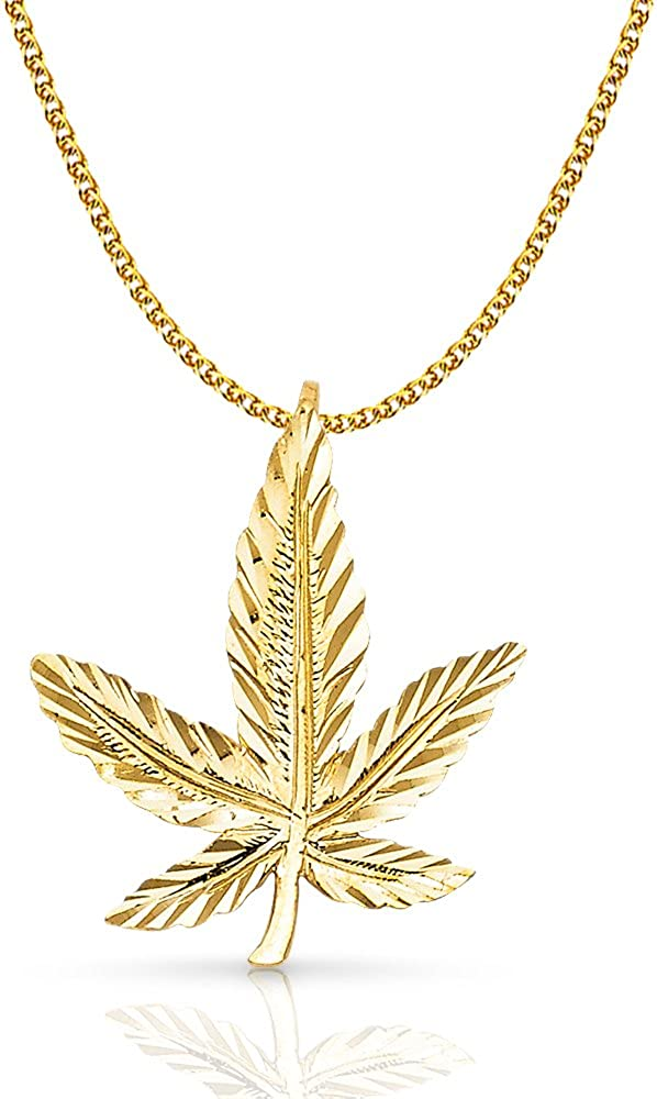 14K Yellow Gold Marijuana Leaf Charm Pendant with 1.5mm Flat Open Wheat Chain Necklace