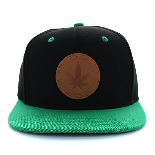 Armycrew Round Marijuana Logo Flat Bill Cotton Snapback Baseball Cap - Black  Kelly Green 8eaaa2a667aa