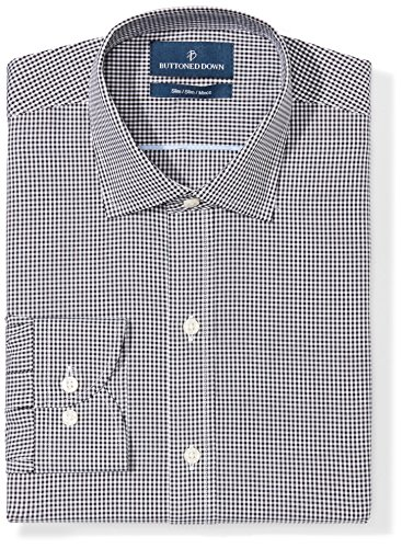 BUTTONED DOWN Men's Slim Fit Spread-Collar Pattern Non-Iron Dress Shirt, Black Gingham, 17.5