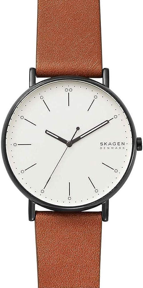 Skagen Reloj Analógico para Hombre de Cuarzo con Correa en Cuero Genuino SKW6550