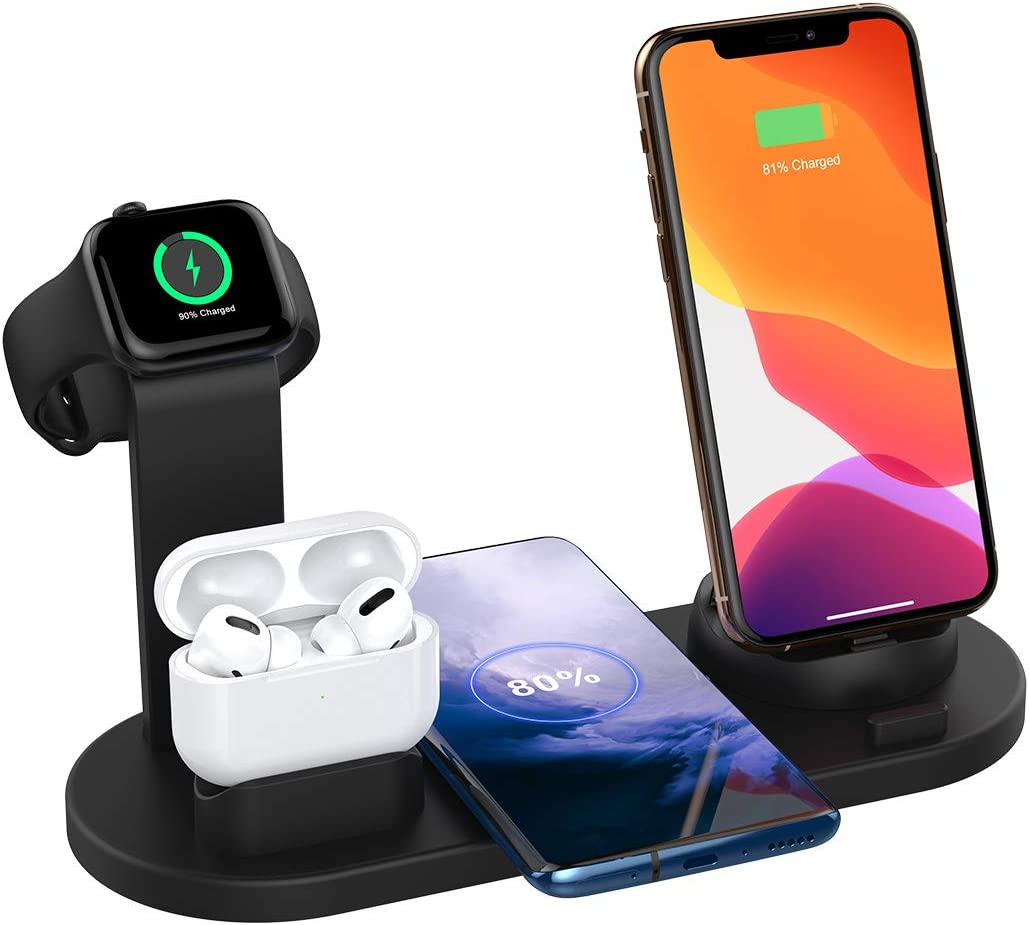 SHRMIA Wireless Charger Stand, 4 in 1 Multi-Function Wireless Charging Station Dock Kit for Airpods Pro Apple Watch, Qi Fast Wireless Charger Holder Pad for iPhone 11 11 Pro Max XS XR Samsung