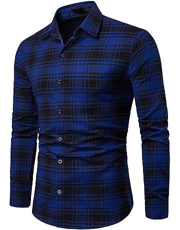 Blusa de Hombre BaZhaHei Camisetas de Cuadros Ocasionales de otoño de los Hombres Camisa de Manga