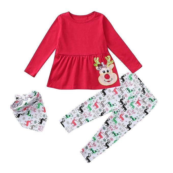 Natale Abbigliamento Bambina BYSTE Maglietta a Manica Lunga Stampa di alci  Cartoon Vestito Pullover Top Abiti +Xmas Pantaloni +Sciarpe 1-5 Anni   Amazon.it  ... c137cf6d71c