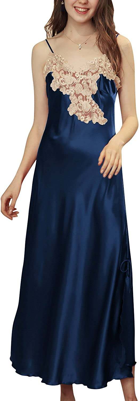 Femmes Ensemble de Pyjama Dolamen Chemises de nuit Femmes Satin Luxe Dentelle Lingerie Spaghetti Strap Chemise Babydoll chemise de nuit Longue
