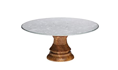 2a3439cf91ff Image Unavailable. Image not available for. Colour: KitchenCraft Industrial  Kitchen Wooden Cake Stand with Steel Platter ...