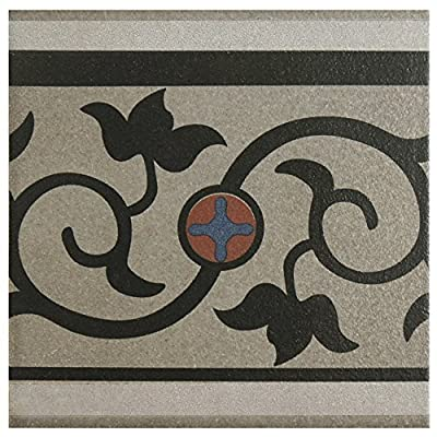 "SomerTile FNU7CQAF Zementu Quatro And Porcelain Floor and Wall Border Tile, 7"" x 7"", Gray/Black/Terracotta/Blue"