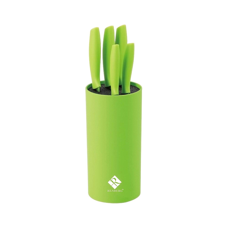 Renberg Set de 6 Cuchillos de Acero Inoxidable, Color Verde