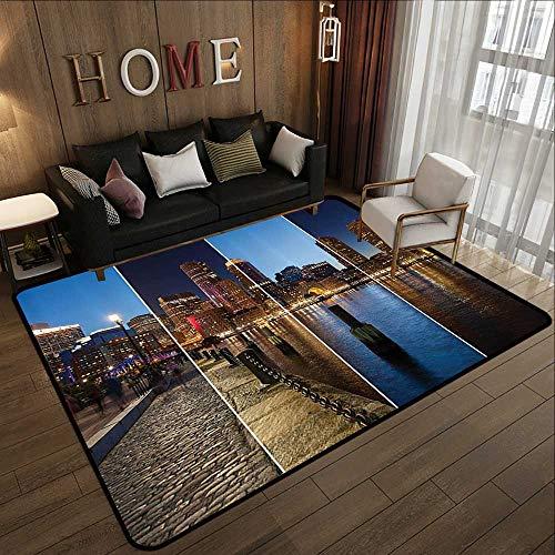 (Rubber mat,American Decor,Boston Skyline Day and Night Cityscape Reflection of Skyscraper in Water Metropolis Themed,Multi 35