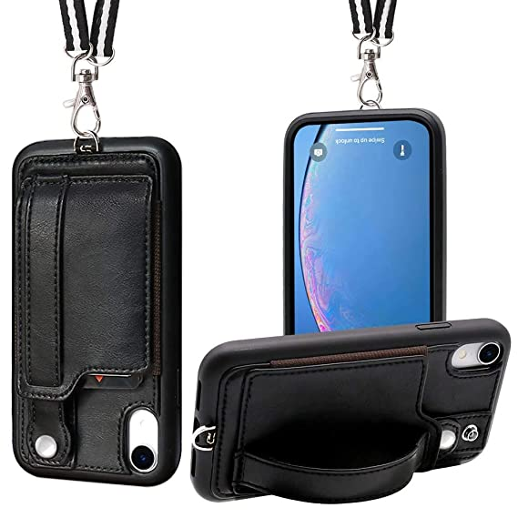 huge discount 8e276 0df6f iPhone XR Necklace Case Lanyard Strap TOOVREN Xr iPhone Case Wallet  Protective Cover with Stand Leather PU Card Holder Adjustable Detachable  iPhone ...
